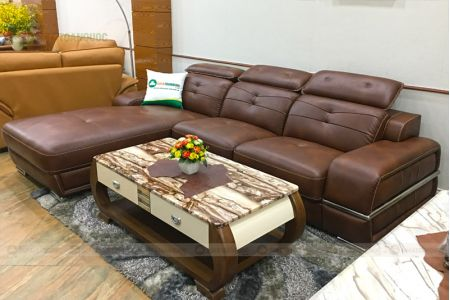 Mẫu ghế sofa phòng khách góc l bọc da chân inox mã m03b
