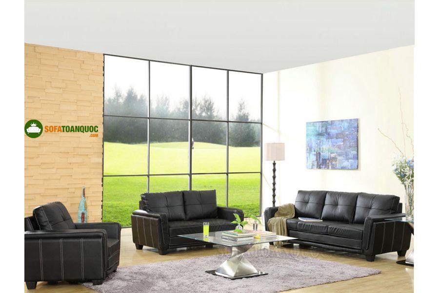 bộ sofa 1-2-3 bọc da màu đen