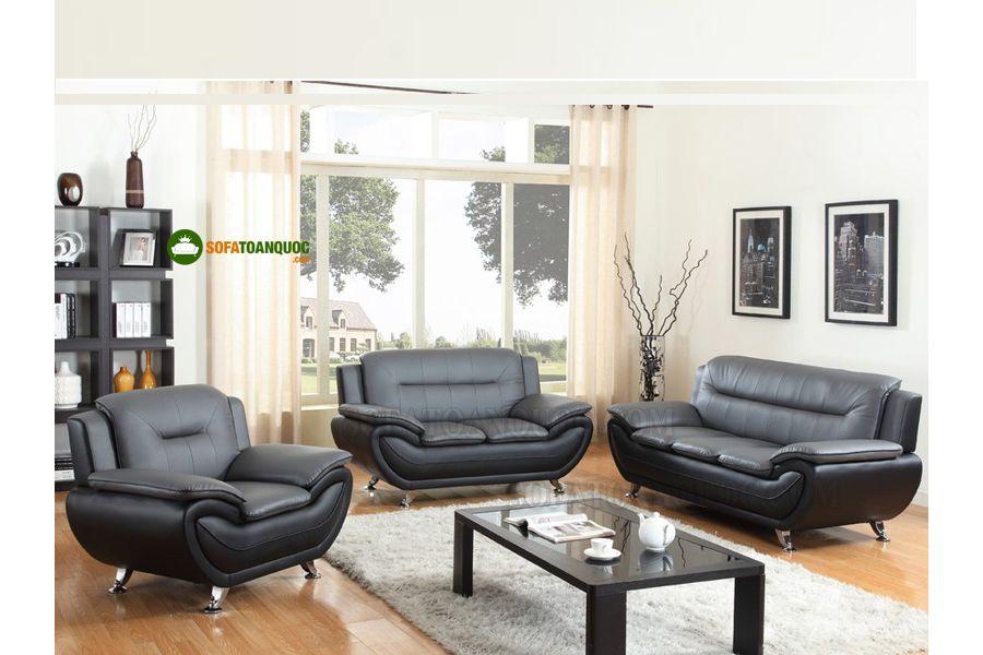 bộ ghế sofa 1-2-3 bọc da màu đen kiểu văng