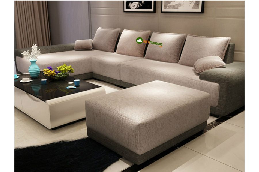 sofa góc màu xám trắng bọc vải cỡ lớn
